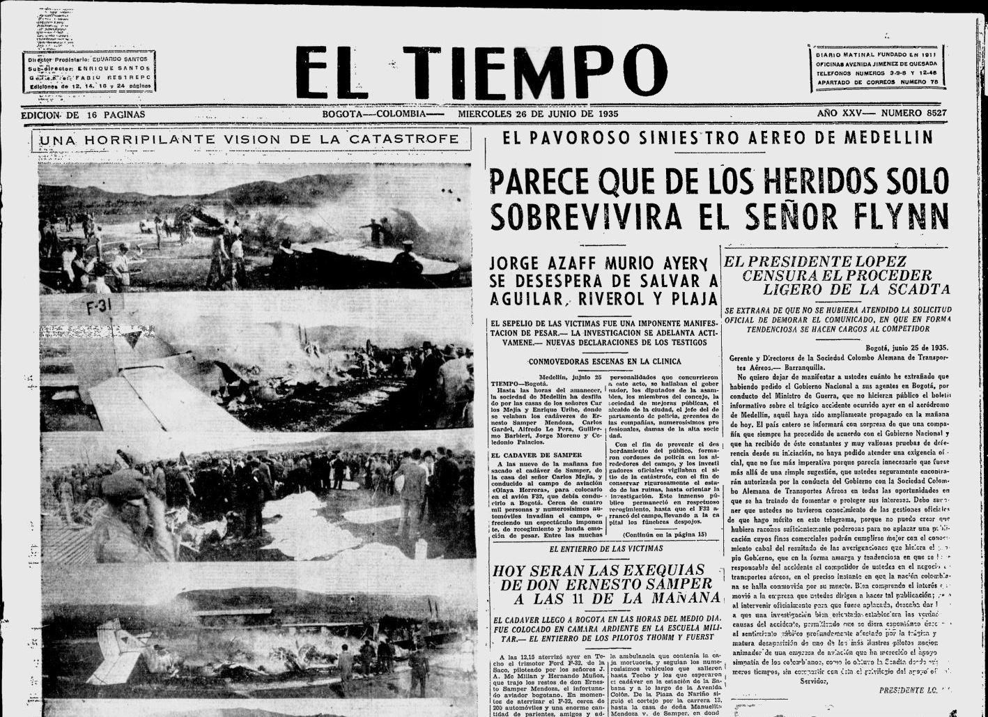 24 Junio 1935 Accidente Medellin
